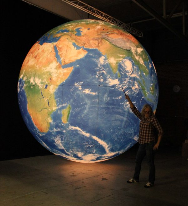 4m backlit printed globe standing in the studio