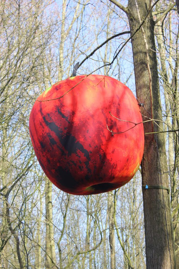 2m Pop Art apple hanging in the woods