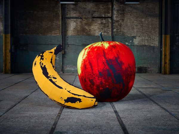 4m banana and 2m apple Pop Art fruit