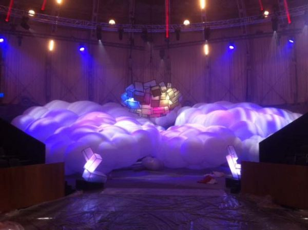 large inflatable clouds with projections