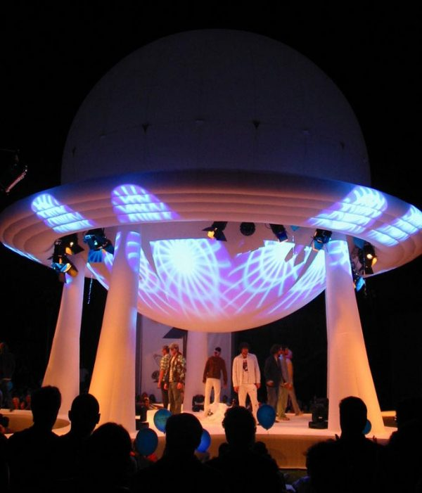 11m inflatable dome stage outside at night