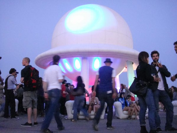 11m inflatable dome stage outside at dusk
