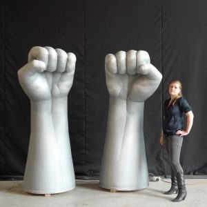 A pair of 2.2m inflatable fists